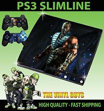 Playstation Ps3 Slim Sticker Sub Zero Mortal Kombat X Hielo Ninja Skin & Pad Skins