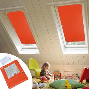 Dachfensterrollo Dunkelgrau Thermo Verdunkelung mit Sauger 98%UV-Schutz Orange