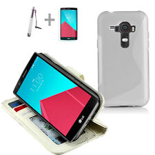 WHITE Wallet 4in1 Accessory Bundle Kit S TPU Case Cover For LG G4 4G