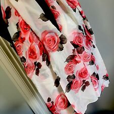 Scarf Shawl Wrap Cover Up Flowers Floral Roses Cream Pink Red Orange Green