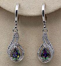 18K White Gold Filled - 1.2' Hollow Waterdrop Mystic Topaz Zircon Earrings