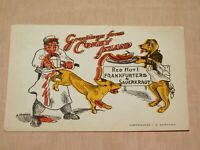 VINTAGE OLD POSTCARD GREETINGS FROM CONEY ISLAND FUNNY RED HOT FRANKFURTERS DOGS