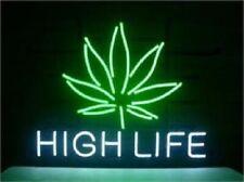 "Marijuana Hemp Leaf High Life Weeds Open Neon Sign 20""x16"" Light Lamp Beer Bar"