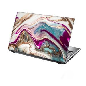 "15.6"" TaylorHe Laptop Vinyl Skin Sticker Decal Stunning Pink Gold Flowing Marble"