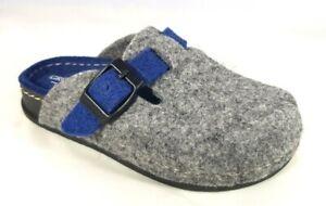 GRÜNLAND ciabatte pantofole BAMBINO SECK CI1095 GRIGIO BLU lana cotto fibbia