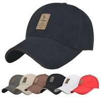 Baseball Cap Adjustable Classic 100% Cotton Summer Snapback Mens Ladies Hat