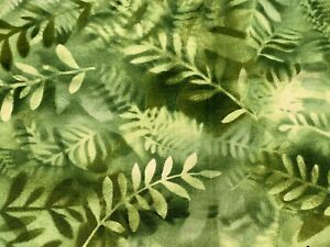 """Green Leaves Essentials Hoffman Fabric 100% Cotton Quilting Fabric 35 1/2"""""""