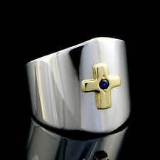 Unique modern Sterling Silver 14kt gold cross sapphire ring size 7