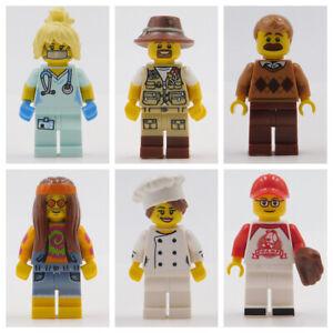 LEGO MINIFIGURES BASEBALL DAD NURSE HIPPIE CHEF FISHING TOWN CITY