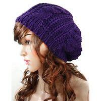 Women Lady Beret Braided Baggy Beanie Crochet Hat Ski Cap Fashion Beige 9 Colors