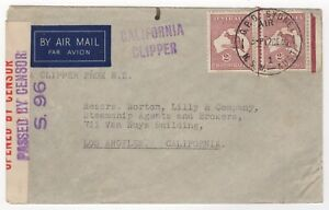 """1940 Dec 12th. Censor Air Mail. Sydney to Los Angeles by """"California Clipper""""."""