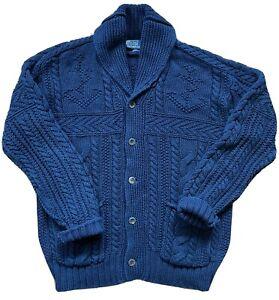 RALPH LAUREN Navy Indigo Blue Shawl Collar Cable Cotton Cardigan Sweater SIZE XL