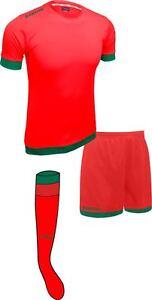 Soccer Lime Red/Kelly Green Sarson Bremen Uniform Kit Jersey Shorts and Socks
