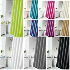 Waterline Bathroom Plain Shower Curtain Inc 12 Matching Rings - 10 Great Colours