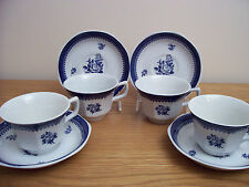 4 WEDGWOOD SPRINGFIELD BLUE CUP & SAUCER SETS GEORGETOWN Collection ENGLAND MINT