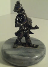 VINTAGE METAL CIRCUS CLOWN PLAYING SAXOPHONE ON MARBLE BASE FIGURINE/PAPERWEIGHT