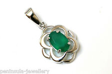 9ct White Gold Green Agate Celtic Pendant no chain Gift Boxed Made in UK