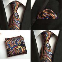 Men Colorful Paisley Floral Silk Tie Pocket Square Handkerchief Set Lot HZ108