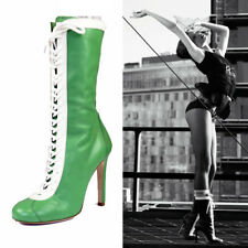 sz 40 NEW $890 MIU MIU RUNWAY Green Leather VINTAGEY LACE-UP Fall Mid Calf BOOTS