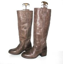 Women's Vintage BULLBOXER Pull On Riding Brown 100% Real Leather Boots UK3 EU36
