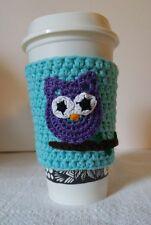 COTTON HANDMADE CROCHET PURPLE OWL COFFEE CUP COZY | PURPLE OWL AQUA CUP SLEEVE
