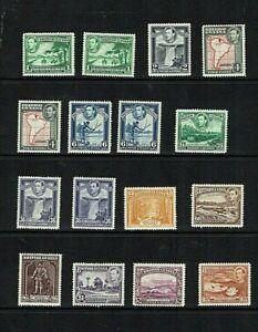 British Guiana: 1938. King George VI  definitive, Complete set, Mint