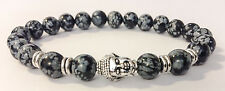 Chrome Buddha / Snowflake Obsidian Shamballa Stretch Energy Bracelet Men/Women