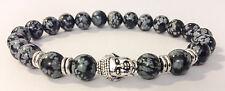 Chrome Buddha / Snowflake Obsidian Shamballa Stretch Energy Bracelet Men/Women