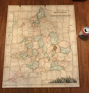 ANTIQUE JOHN BETTS WOODEN JIGSAW PUZZLE MAP OF ENGLAND & WALES