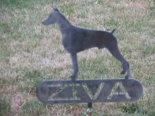 Doberman Pinscher Custom sign name pet statue metal art memorial steel