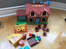 BROWN TUDOR HOUSE # Vintage Fisher Price Little People LOTS OF EXTRASa