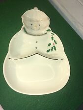 Festive Christmas Lenox For The Holidays Snowman Sweets divided dish New In Box