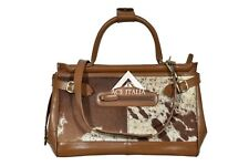 New Ladies Stylish Gladstone Bag Tan COW Fur Real Cow Leather Hand Bag