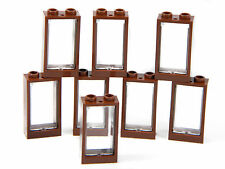LEGO windows (pack of 8) small 3x2 BROWN with glass for house 2x3 BRAND NEW