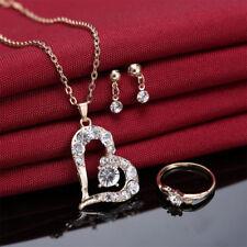 Eg _ Lk _ Luxuriös Herzanhänger Straß-halskette Ring Ohrringe Damen Schmuck-Set