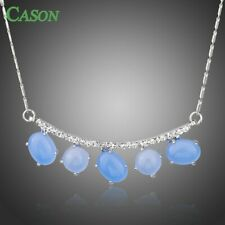 Blue Opal Necklace Austrian Crystal Pendant Necklace White Gold Women Jewelry