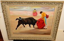 """MAXINE WHITESIDE """"BULL FIGHT"""" ORIGINAL OIL ON CANVAS PAINTING DATED 1959"""