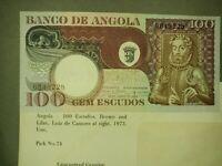 Angola, 100 Escudos, 1973  UNC pick 74 CRISP! Gradable!
