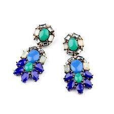 E1171 Brand New Blue Stone Gems Chandelier Peacock Earrings Vintage Jewelry