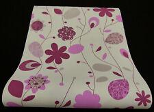 03884-10-919) schicke Vliestapete Retro-Blüten Tapete Flieder weiß lila hellgrau