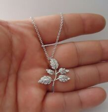 LEAF BRANCH  NECKLACE PENDANT W/ 1CT ACCENTS /925 STERLING SILVER /29MM BY 26MM
