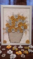 HANDMADE 3D PICTURE,GOLD AND SILVER FABRIC FLOWERS WITH BEADS AND CROCHET CORE