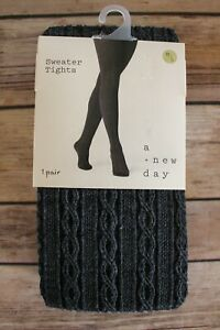 A New Day Cable Textured Footed Sweater Tights Medium/Large Charcoal Gray NEW