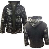 Men's Fleece Lined Black Goth Emo WinterJacket Hippy Boho Hoodie Jumper