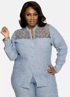 Ashley Stewart Womens Plus Size 14W Crochet Lace Chambray Linen Shirt Top Blouse