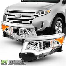 Chrome 2011-2014 Ford Edge Chrome Halogen LED DRL Projector Headlights Headlamps