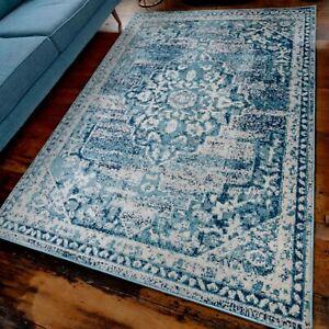 Teal Blue Rugs for Bedroom Distressed Vintage Moroccan Transitional Carpet Mats