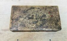 Antique Old Brass Hand Carved Peacock Figure  Meena Work Betel Box