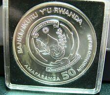 50 francos 2013 ruanda moneda guepardo stgl plata km:38 en cápsula