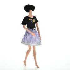 Hot 2 Pcs/set Black and Blue Grid Dresses for Barbies Princess Dolls with Hat WB
